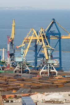 Huge Cranes Working At The Commercial Dock Royalty Free Stock Image