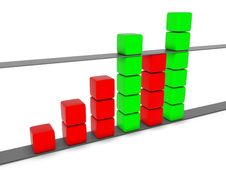 Free Green And Red 3D Statistic Chart Stock Image - 14315161