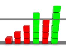 Free Green And Red 3D Statistic Chart Royalty Free Stock Photo - 14315185