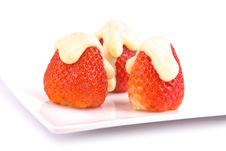 Strawberries With Vanilla Pudding Royalty Free Stock Image