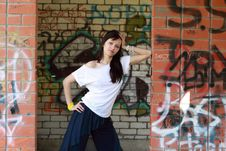 Free Young  Girl Near The Walls With Graffiti Stock Photo - 14317120