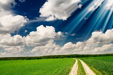 Free Unusually Beams Above Spring Field. Royalty Free Stock Photos - 14317398