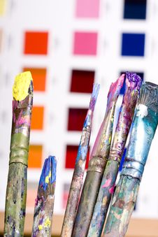 Free Artistic Equipment And Color Chart Stock Photography - 14318452