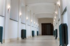 Empty Corridor With Lamps Royalty Free Stock Images