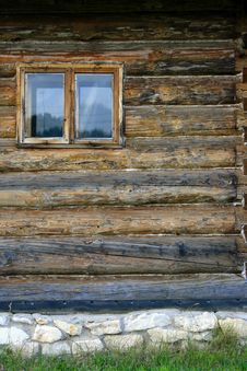 Wall Of Log House With Window Royalty Free Stock Images