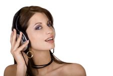 Brunette And Headphones Stock Image