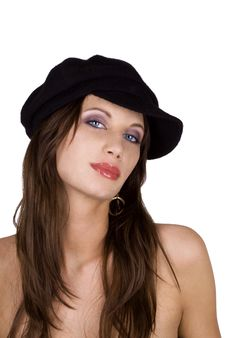 Free Fashion Model Wearing A Beret Royalty Free Stock Photography - 14319147