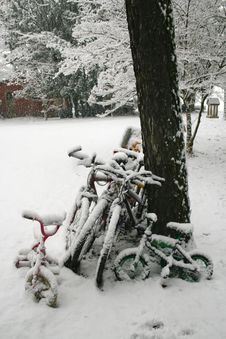 Bicycles In The Snow Stock Photos