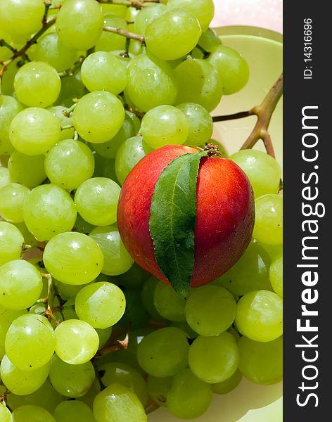 Nectarine and grape