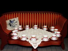 Free Luxurious Interior With Teacups Stock Photography - 14320062