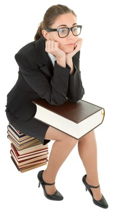 Free Woman And A Pile Of Books Stock Photos - 14320423