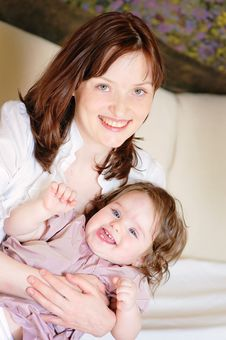 Portrait Of Mother And Baby-daughter Royalty Free Stock Photography