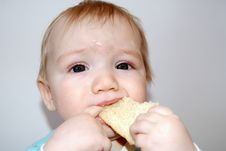 Free The Little Child Eats Bread Royalty Free Stock Photography - 14321747
