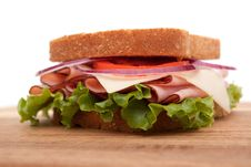 Free Ham Sandwich On Whole Wheat Bread Stock Photos - 14322253