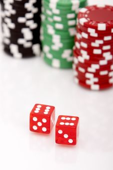 Free Colorful Poker Chips And Dices Stock Image - 14322311