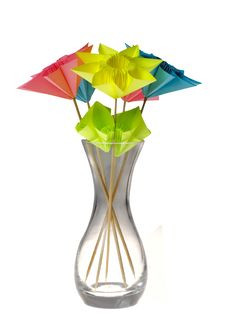 Free Origami Flowers In Glass Vase Stock Images - 14323074