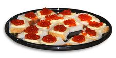 Bread And Butter With Red Caviar Stock Images