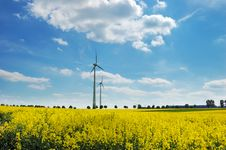 Free Wind Turbines Among Rapeseed Fields And Mead Royalty Free Stock Photos - 14324368