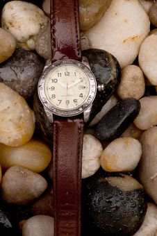 Diving Wristwatch On Wet Pebbles Royalty Free Stock Photos