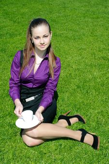 Free Young Businesswoman With Cup Of Tea Royalty Free Stock Photography - 14325887