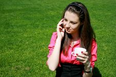 Free Young Businesswoman Drinking Tea And Talking Stock Photography - 14326312