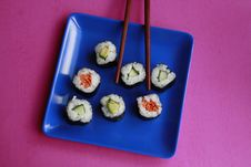 Vegetable Sushi On Blue Plate