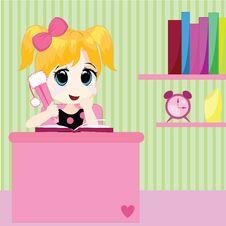 Little Girl Doing Homework Royalty Free Stock Photo