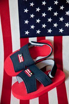 Patriotic Children S Sandals Royalty Free Stock Photos