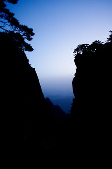 Huangshan And Pine Silhouette Royalty Free Stock Image