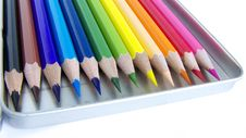 Free 12 Color Pencils In Pencilbox Stock Photography - 14329272