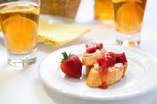 Free Crostini With Strawberry Rhubarb Compote Royalty Free Stock Photography - 14329457