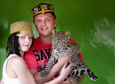 Free Portrait Of People With A Leopard Stock Images - 14329614
