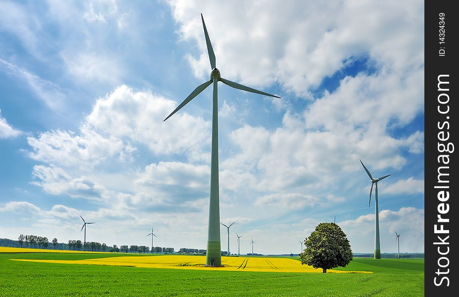 Wind turbines among rapeseed fields and meadows