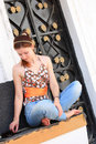 Free Young Woman And Oriental Doorway Stock Photos - 14330783