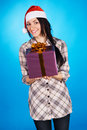 Free Christmas Girl With A Gift Box Stock Photos - 14334803