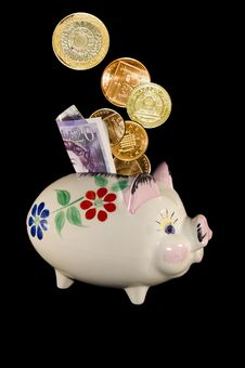 Piggy Bank With Money Stock Photography