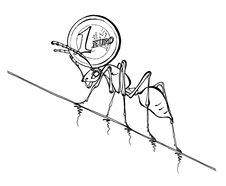 Free Illustration Of An Ant Pushing Euro Royalty Free Stock Photo - 14331155