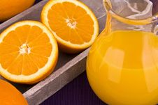 Orange Juice In Carafe With Oranges Royalty Free Stock Images