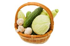 Wattled Basket With Vegetables Stock Images