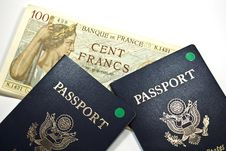 French Francs And Passports Stock Photo