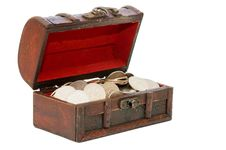 Free Wooden Casket Full Of Coins Royalty Free Stock Photography - 14332237