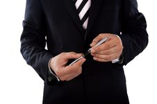 Free Businessman And Pencil Royalty Free Stock Photo - 14332545