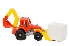 Free Toy Tractor And The Block Isolated Royalty Free Stock Image - 14332716