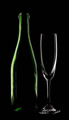 Free Bottle Of Wine And Wineglass Stock Photo - 14334470