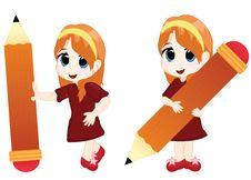 Little Girl With A Big Pencil Stock Photos