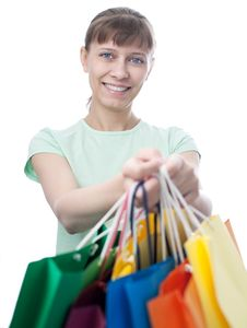 Free Happy Woman With Shopping Bags Stock Images - 14335864