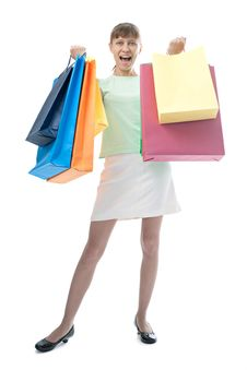 Free Happy Woman With Shopping Bags Stock Images - 14335874