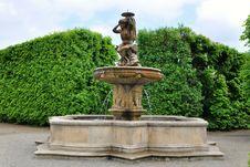 Lions Fountain In Flower Garden In Kromeriz,Czech Stock Photo