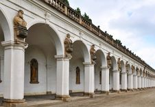 Colonnade In Flower Garden In Kromeriz,Czech Rep. Royalty Free Stock Photo