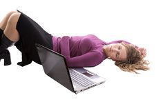 Free Businesswoman Sleeping By Computer Royalty Free Stock Image - 14336896
